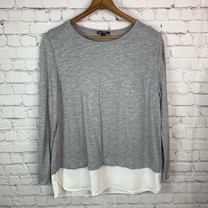 J. Crew Mercantile Grey Long Sleeve Blouse XL